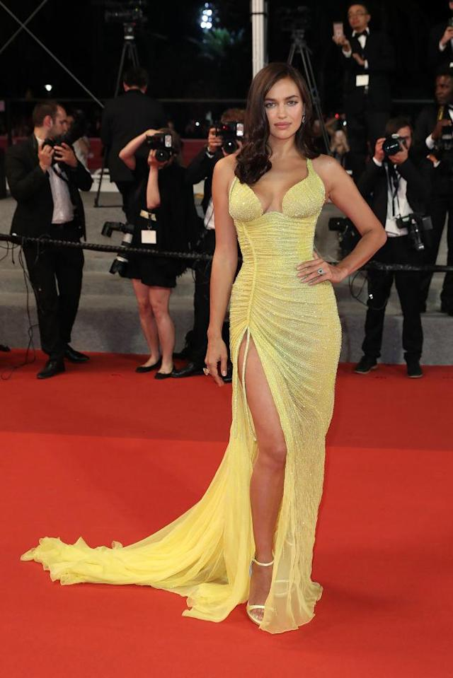 """<p>The new mother and Victoria's Secret model attended the """"Hikari (Radiance)"""" screening in a bright yellow, figure-hugging gown on May 23, 2017. (Photo: Getty Images) </p>"""