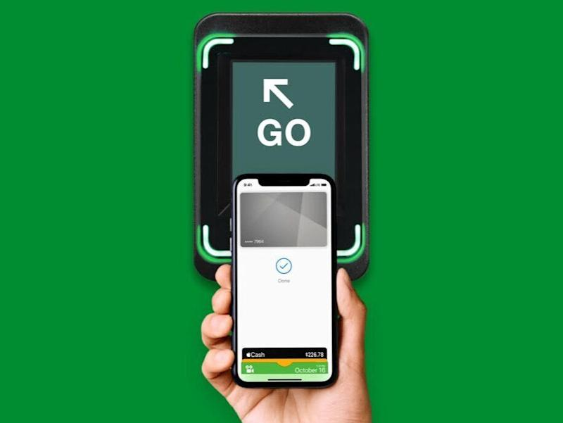 The MTA's contactless payment service will let you pay for subways and buses with your iPhone, Apple Watch, Android device, or Fitbit. (Image: Apple)