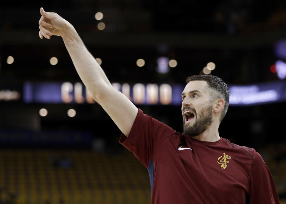 Kevin Love returned to play Game 1 of the NBA Finals after a one-game absence for a concussion. (AP)