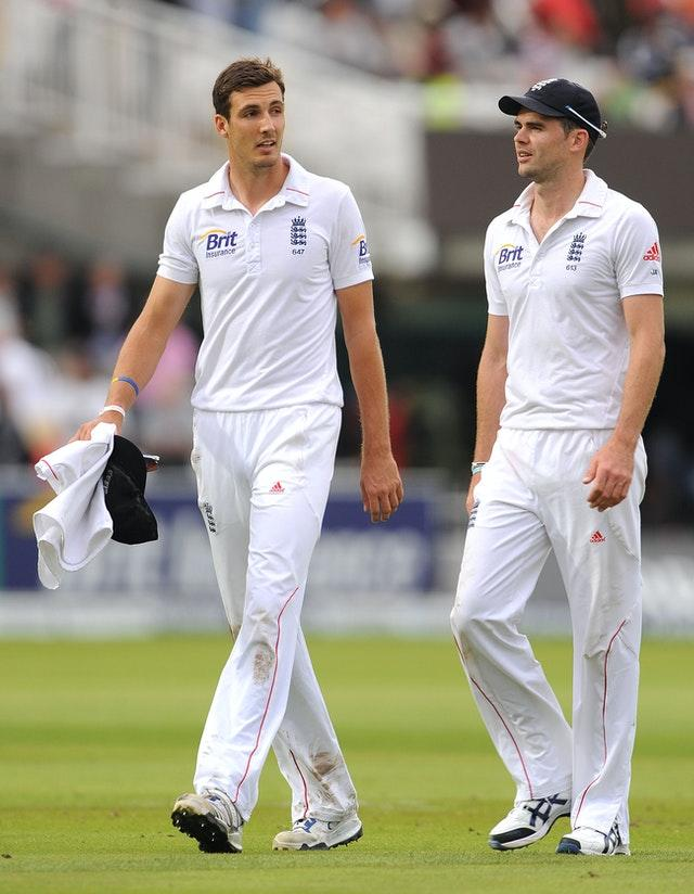 Steven Finn (left) played 36 Tests for England and was part of a bowling attack often led by James Anderson