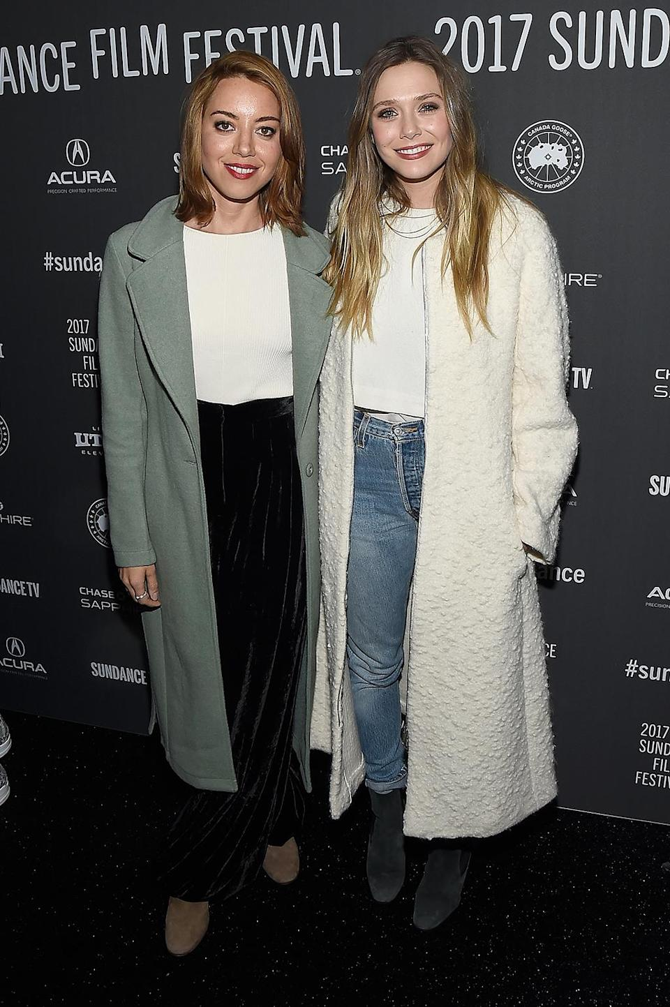 <p>Dusters are the go-to accessory for these actresses at the 'Ingrid Goes West' premiere on Jan. 20. (Photo: Matt Winkelmeyer/Getty Images) </p>