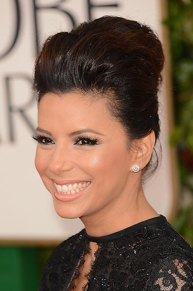 Eva Longoria arrives at the 70th Annual Golden Globe Awards at the Beverly Hilton in Beverly Hills, CA on January 13, 2013.