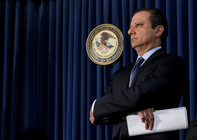 FILE PHOTO: Preet Bharara, U.S. Attorney for the Southern District of New York, attends a news conference in New York
