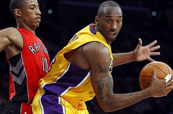 Lakers guard Kobe Bryant makes his season debut Sunday against high-flying guard DeMar DeRozan and the Raptors. Above, DeRozan and Bryant in a game three seasons ago.
