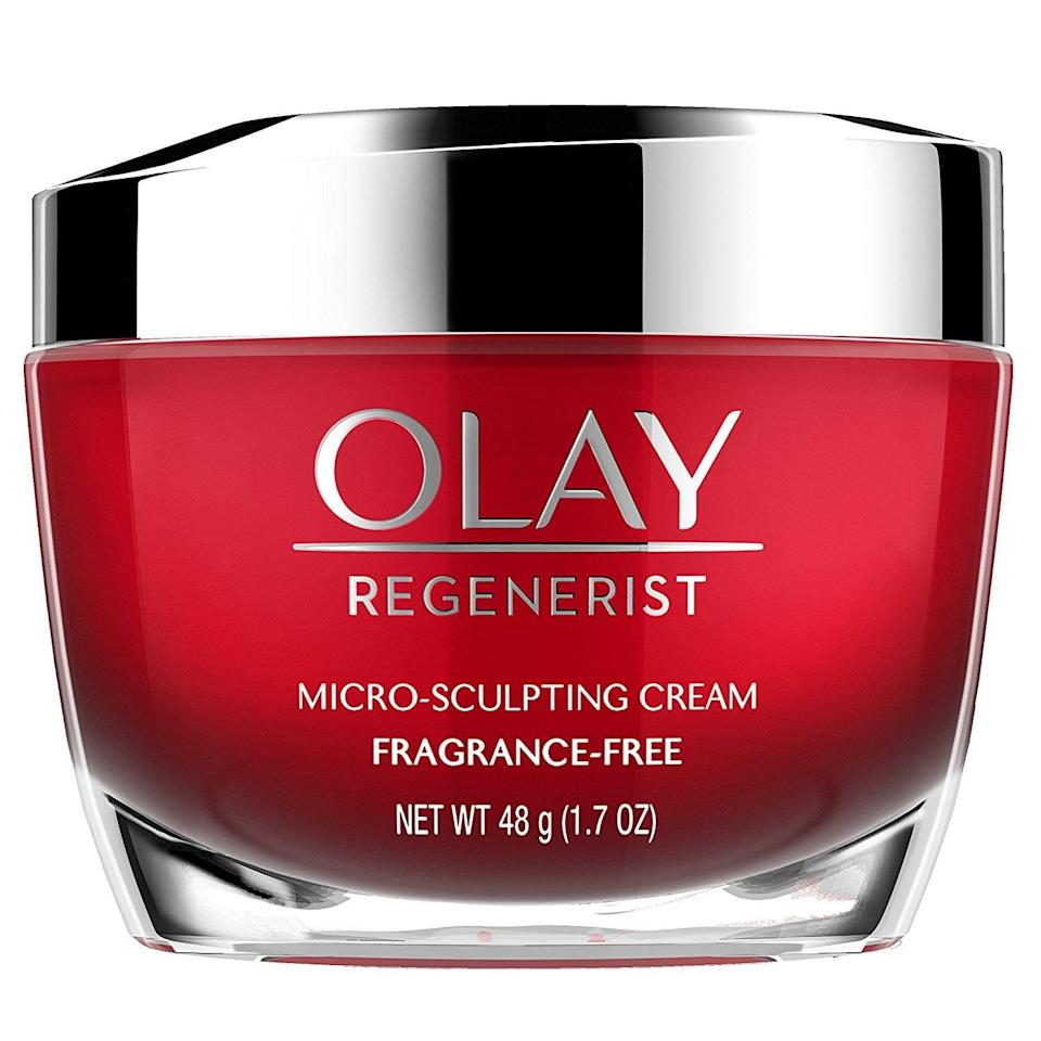 <p>The hyaluronic acid in this <span>Olay Regenerist Micro-Sculpting Face Cream Moisturizer</span> ($32) is also mixed with amino peptides and vitamin B3, which helps hydrate deep in your pores. </p>