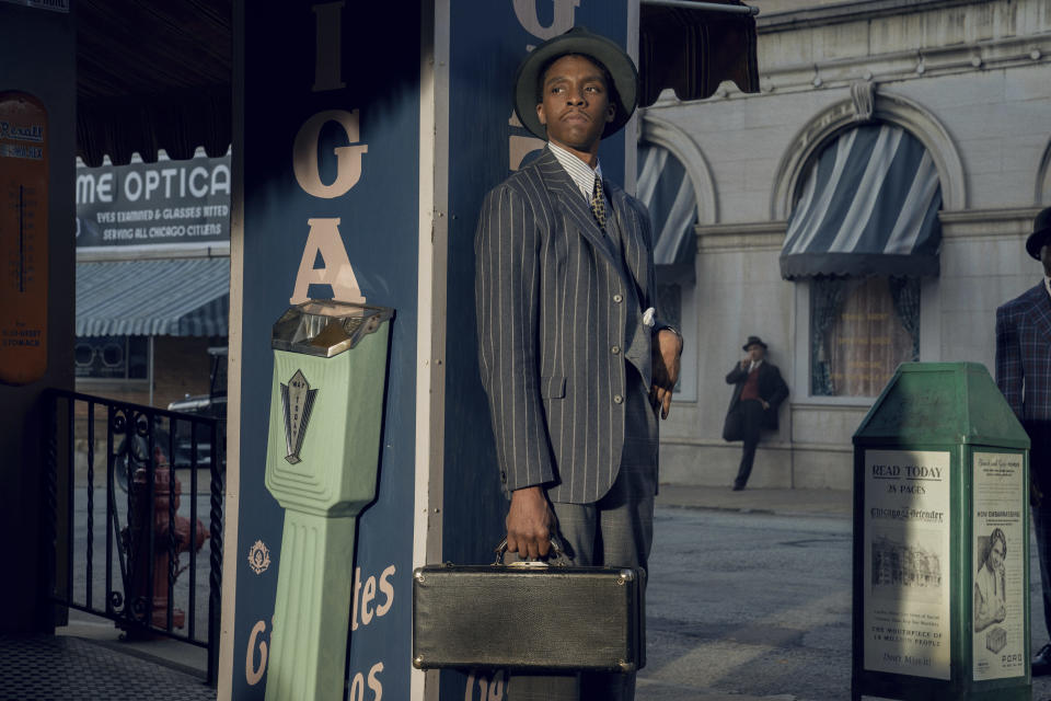 "This image released by Netflix shows Chadwick Boseman in ""Ma Rainey's Black Bottom."" (David Lee/Netflix via AP)"