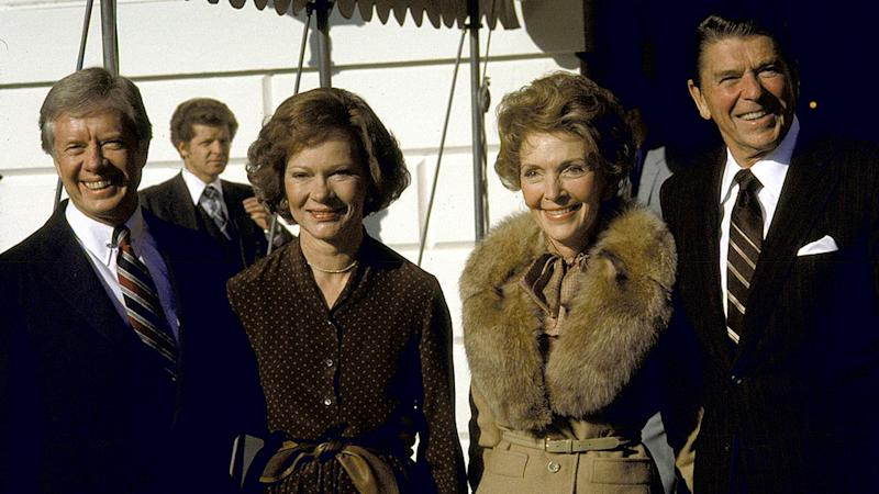 Pictured left to right are Jimmy Carter, wife Rosalynn, Nancy Reagan and Ronald Reagan.