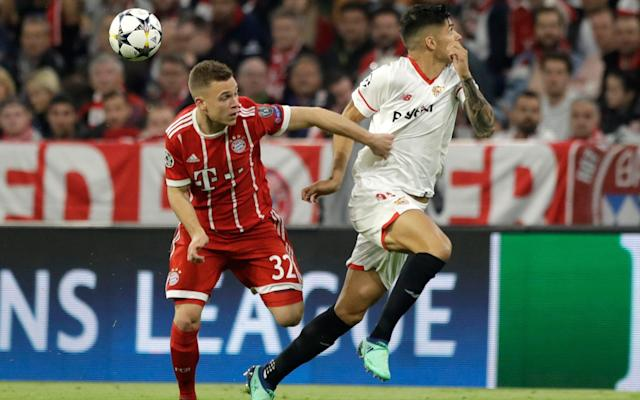 9:44PM Key stats Average touch positions (full time) Possession: FC Bayern vs Sevilla FC Bayern vs Sevilla shots on goal 9:40PM BAYERN MUNICH REACH THE SEMI-FINAL! That's it! The referee blows his final whistle! 9:39PM RED CARD! Correa goes into a challenge on the touchline, catches Martinez and the staff all go nuts. Collum decides it's a red card - it's NEVER a red card - and now the atmosphere has turned. Montella is acting like a lunatic on the sidelines. 9:37PM 90 mins +2 Wagner wants a penalty. It'd be harsh as a foul, let alone a penalty, considering it took place outside the area. And suddenly it's all kicking off on the sidelines! What's happened here?! 9:33PM 89 mins Bayern are still winning the ball high up the pitch but choosing not to attack. It's all about possession and seeing the game out. FC Bayern vs Sevilla shots on goal 9:32PM 87 mins Credit: REUTERS And now Rafinha is taken off for Niklas Sule, the incredibly talented young centre-back. Bayern just want to get the job done, which makes sense since all the other European giants have been throwing away first leg leads over the last day or so. 9:30PM 86 mins Wagner tries to stop a quick free-kick being taken and goes down under Nolito's strong arm. The referee lets Sevilla retake the kick, which is a good decision. Sevilla players are starting to get a little wound up now. Rafinha has decided he needs to sit down for a mysterious, and clearly very serious, injury. 9:27PM 83 mins Martinez goes down holding his face from what looked like a fairly innocuous challenge. Banega's reached his hand out while turning sharply and gently caught the Bayern man with his fingers. Booking! How?! Another dreadful decision by Willie Collum. We get him every week in Scotland. 9:25PM 81 mins James swings a corner out and Sevilla head it away. Here comes another forward! Vasquez off, Nolito - ex of Man City - on. They're throwing everything they've got at it now. 9:23PM 78 mins Nzonzi is, of course, already on a yello