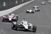 Josef Newgarden drives during the final practice session for the Indianapolis 500 auto race at Indianapolis Motor Speedway, Friday, May 28, 2021, in Indianapolis. (AP Photo/Darron Cummings)