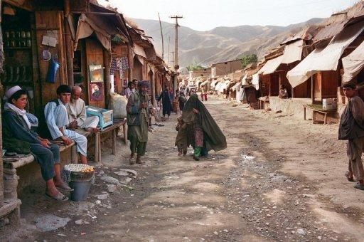 This file photo shows a street market in Afghanistan's northeastern Badakhshan province, pictured in 2001. Two female foreign aid workers kidnapped in the area last week have been freed in a special forces operation in which five kidnappers were killed, according to officials