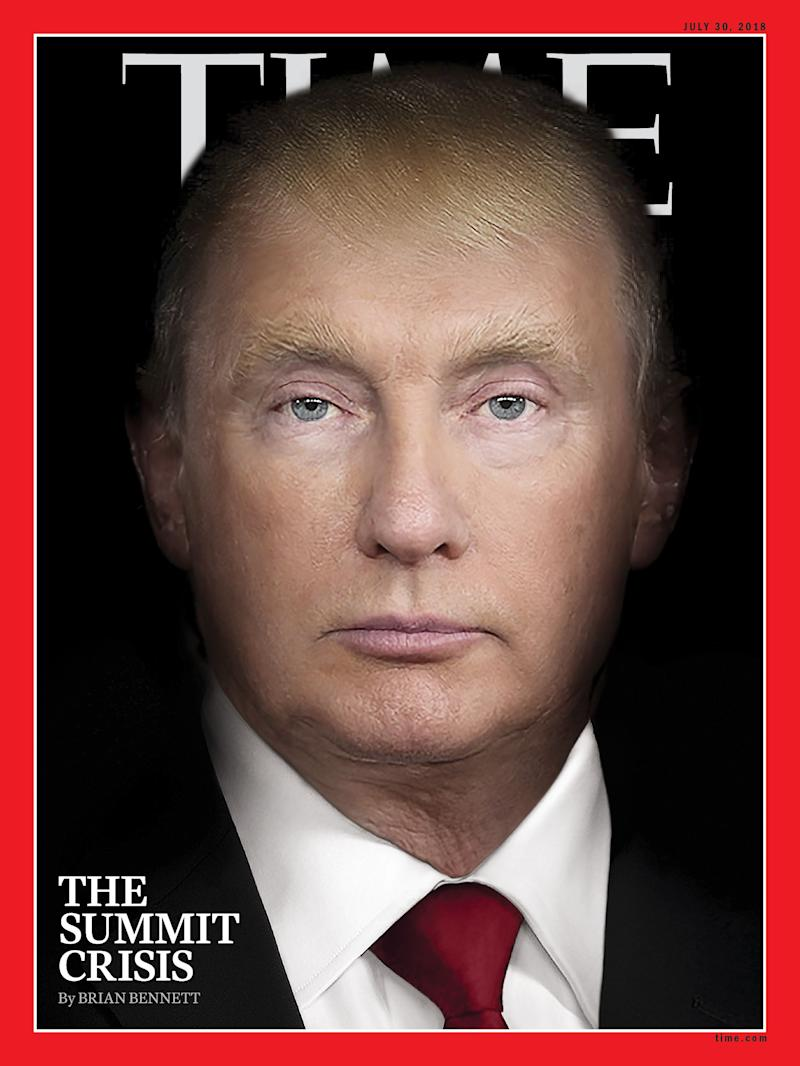 The cover of Time magazine's July 30 edition, with a photo illustration combining the images of President Donald Trump and Russian President Vladimir Putin. (Photo: Time)