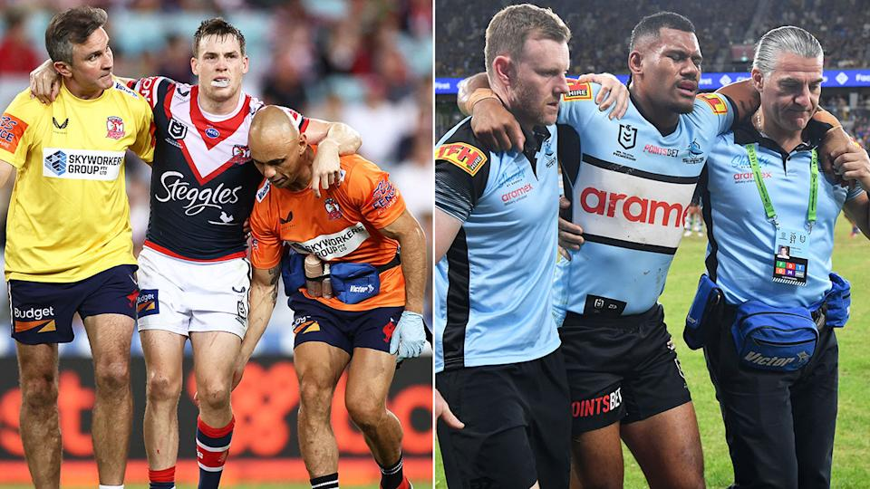 Pictured here, Roosters playmaker Luke Keary and Cronulla outside back Sione Katoa are both helped off the field.