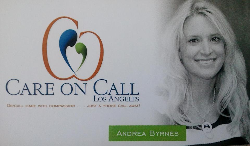 "<span><b>Andrea Byrnes</b></span><div class=""categoryFont""><span class=""categoryColor"">Category </span>Entrepreneur</div><br><span>Andrea Byrnes was an elementary teacher when her father was diagnosed with Alzheimer's. She returned to Ohio from San Diego to care for him fulltime. After years of devoting her life to him, he passed and she returned to California. Her teaching license expired so she looked for nanny work, but she ached to help seniors who were suffering. Inspired by her father and driven by her passion to give seniors a better life, Andrea created her own company, Care on Call Los Angeles, dedicated to treating seniors with the dignity they deserve. Andrea strives to make a difference in each senior's life. The individual attention given to each client and the true demonstration of compassion makes Care on Call unique. She has been working from no budget but continues to reach out to organizations like the Wish of a Lifetime Foundation, giving seniors a last wish. Andrea turned a tragic situation into a positive one by using what she learned while caring for her father to become an Alzheimer's consultant and is trying to produce Alzheimer's Kits to help caregivers connect with their loved one with memory loss. I am a college intern working for her company and I see how she is loved by the people she cares for and an inspiration to everyone. Because of her innovative approaches, Care on Call's potential to touch the lives of seniors in so many ways is limitless, as is her passion. Andrea is taking extraordinary measures to make sure that seniors have the care and compassion they deserve.</span>"