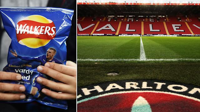 Crisps were thrown onto the pitch at The Valley.