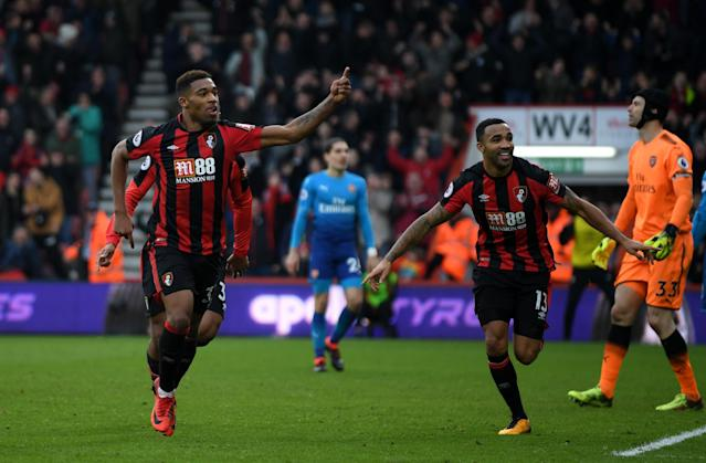 "<a class=""link rapid-noclick-resp"" href=""/soccer/players/jordon-ibe/"" data-ylk=""slk:Jordon Ibe"">Jordon Ibe</a> celebrates his winner for Bournemouth against Arsenal. (Getty)"