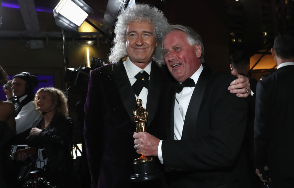 91st Academy Awards – Oscars Governors Ball – Hollywood, Los Angeles, California, U.S., February 24, 2019. Brian May of Queen reacts with Paul Massey, winner of Achievement in sound mixing. REUTERS/Mario Anzuoni