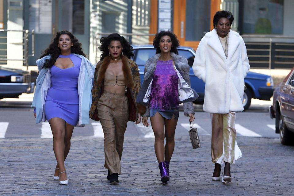 <p>Indya Moore, Hailie Sahar, Mj Rodriguez and Dominique Jackson of <em>Pose</em> shoot scenes for the final season of the series in N.Y.C. on Monday.</p>