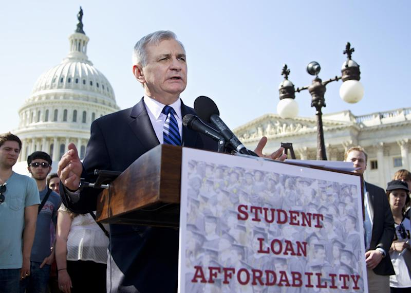 FILE - In this March 13, 2012, file photo Sen. Jack Reed, D-R.I., joins students at a Capitol Hill news conference to announce the collection of over 130,000 letters to Congress to prevent student loan interest rates from doubling this July. With Congress returning from a weeklong spring recess, the Senate plans to vote Tuesday, May 8, on whether to start debating a Democratic plan to keep college loan interest rates for 7.4 million students from doubling. The $6 billion bill would be paid for by collecting more Social Security and Medicare payroll taxes from high-earning owners of some privately held corporations. (AP Photo/Manuel Balce Ceneta, File)
