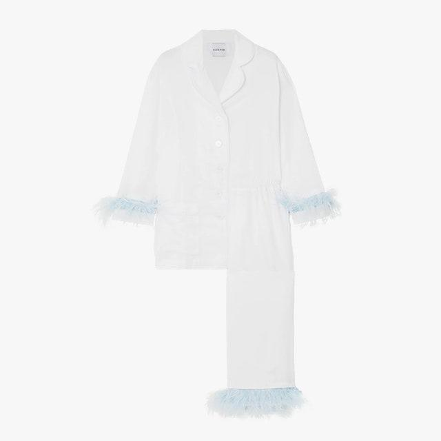 "$320, NET-A-PORTER. <a href=""https://www.net-a-porter.com/en-us/shop/product/sleeper/feather-trimmed-crepe-de-chine-pajama-set/1307619"" rel=""nofollow noopener"" target=""_blank"" data-ylk=""slk:Get it now!"" class=""link rapid-noclick-resp"">Get it now!</a>"