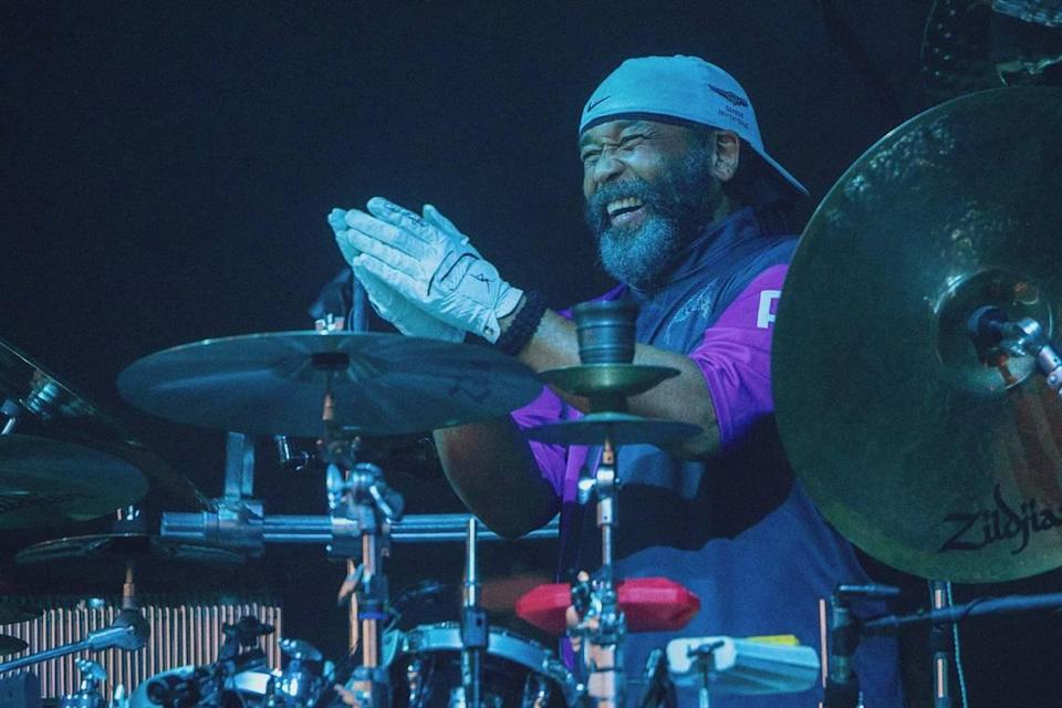 Drummer and backing vocalist Carter Beauford at Saturday night's concert.
