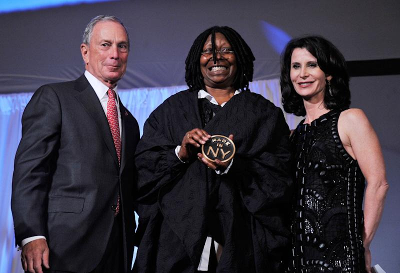 NEW YORK, NY - JUNE 04: New York City Mayor Michael Bloomberg,actress/TV personality Whoopi Goldberg, and New York City Film Commissioner Katherine Oliver attend the 2012 Made In NY Awards at Gracie Mansion on June 4, 2012 in New York City. (Photo by Stephen Lovekin/Getty Images)