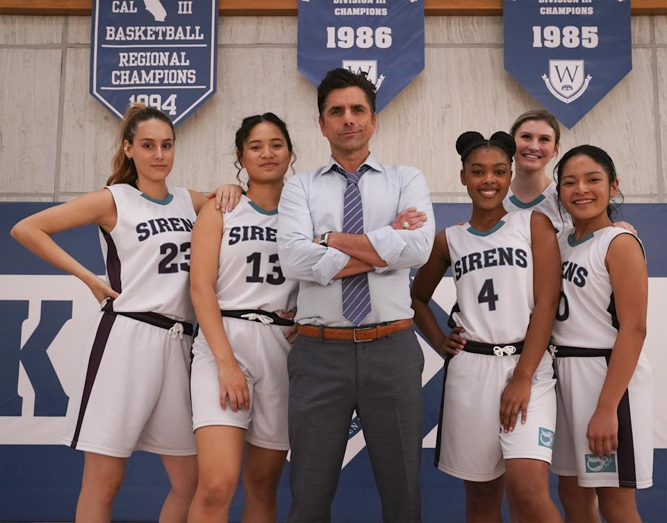Tiana Le, John Stamos, Monique Green, Cricket Wampler, Tisha Custodio in 'Big Shot' coming to Disney+ on Friday, April 16. (Disney+/Gilles Mingasson)