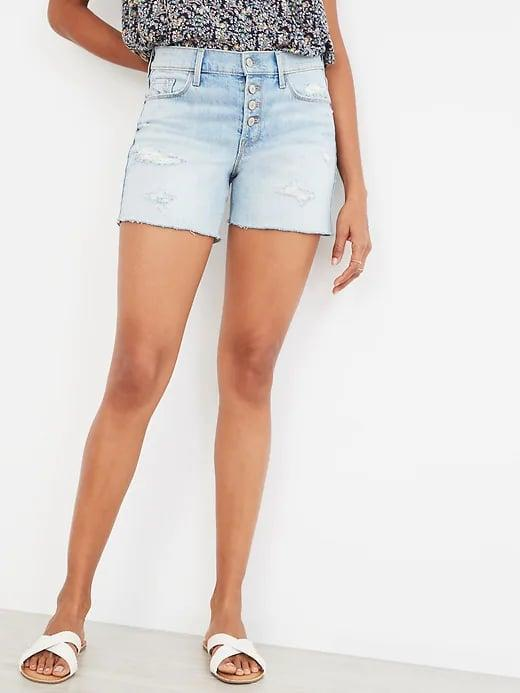 <p>The <span>Old Navy Mid-Rise Distressed Button-Fly Cut-Off Jean Shorts</span> ($25, originally $30) bring vintage flair with a super-light wash and exposed buttons. </p>