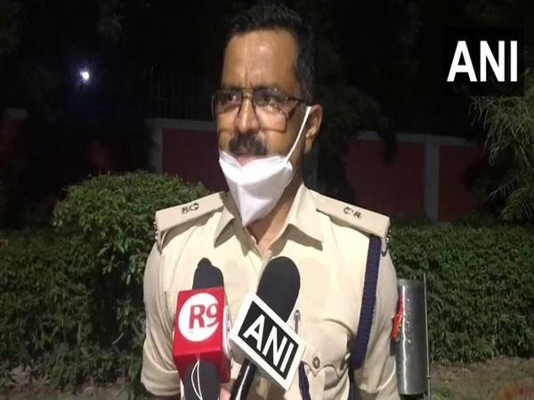 Additional Deputy Commissioner of Police (DCP) Ranvijay Singh talking to reporters on Saturday.