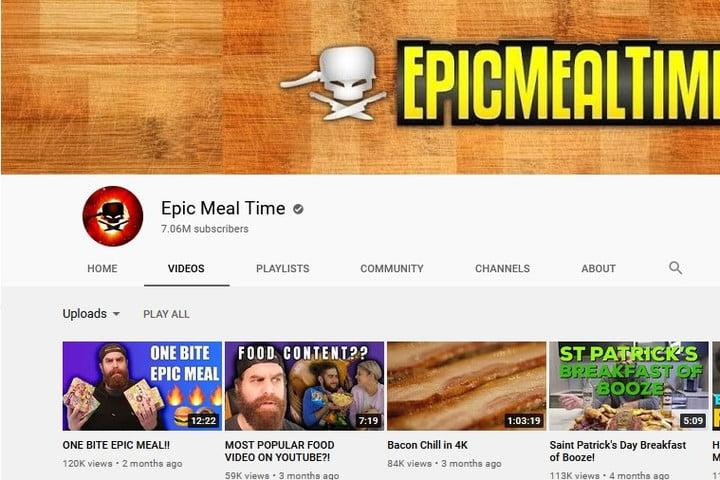 Epic Meal Time YouTube Channel screenshot