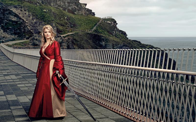 Gavanndra Hodge on the bridge at Tintagel Castle - Harry Lawlor