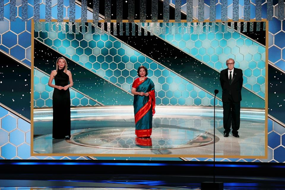 Pictured: (l-r) HFPA Vice President Helen Hoehne, HFPA Board Chair Meher Tatna, and HFPA President Ali Sar speak via video at the 78th Annual Golden Globe Awards held at The Beverly Hilton and broadcast on February 28, 2021 in Beverly Hills, California.