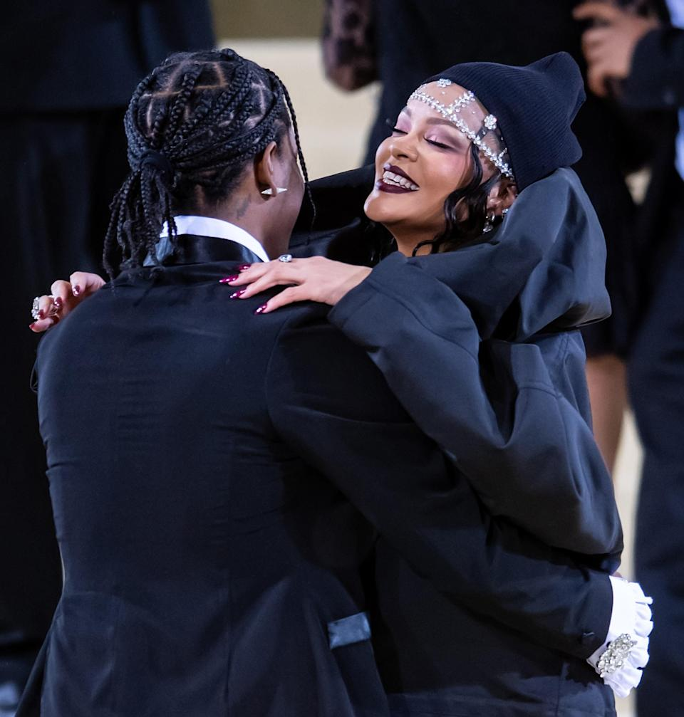 Rih and A$AP Rocky making their Met Gala debut as a couple in coordinating black and mega crystals.