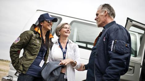 Nicole with Felix's mom and mentor Col. Kittinger. (Predrag Vuckovic/Red Bull Content Pool)