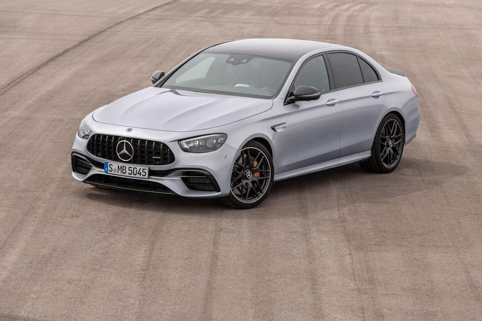 "<p>The <a href=""https://www.caranddriver.com/mercedes-amg/e63-s-4matic"" rel=""nofollow noopener"" target=""_blank"" data-ylk=""slk:2021 Mercedes-AMG E63 S sedan"" class=""link rapid-noclick-resp"">2021 Mercedes-AMG E63 S sedan</a> is the materialization of pure affluence crossed with rapturous performance. It's based on the regular <a href=""https://www.caranddriver.com/mercedes-benz/e-class"" rel=""nofollow noopener"" target=""_blank"" data-ylk=""slk:Mercedes-Benz E-class"" class=""link rapid-noclick-resp"">Mercedes-Benz E-class</a>, but the E63 S is actually a more powerful version of the <a href=""https://www.caranddriver.com/mercedes-amg/e53"" rel=""nofollow noopener"" target=""_blank"" data-ylk=""slk:AMG E53"" class=""link rapid-noclick-resp"">AMG E53</a>. However, this significantly more expensive sibling features a fire-breathing 603-hp twin-turbo V-8 that helps it accelerate with breathtaking speed. Plus, the E63 S's talented all-wheel-drive system has a Drift mode that routes all of the engine's power to the rear wheels for entertaining sideways action. Of course, this mightiest E is hardly meant for adolescent indulgences. Its rowdy soundtrack and incredible handling make it a machine that can intimidate and challenge even the most exotic cars. And once those opponents are left stunned, the 2021 E63 S sedan pampers its passengers like a five-star resort.</p><p><a class=""link rapid-noclick-resp"" href=""https://www.caranddriver.com/mercedes-amg/e63-s-4matic"" rel=""nofollow noopener"" target=""_blank"" data-ylk=""slk:Review, Pricing, and Specs"">Review, Pricing, and Specs</a></p>"