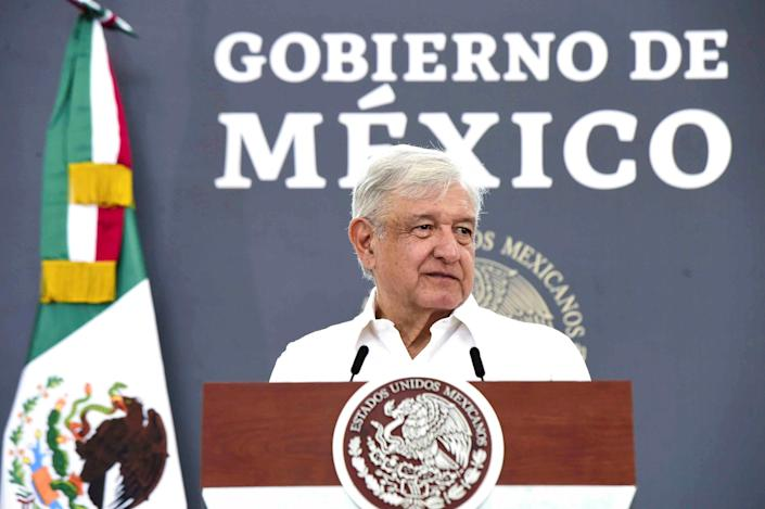 Image: Mexico's President Andres Manuel Lopez Obrador at a news conference in the state of Chiapas, Mexico on June 4. (Mexico's Presidency / via Reuters file)
