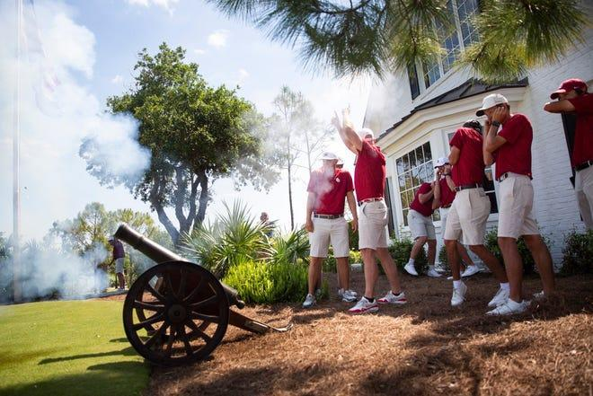 The University of Oklahoma Golf Team celebrates their victory at the inaugural Calusa Cup College Golf Tournament by firing a cannon at the Calusa Pines Golf Club in Naples on Tuesday, April 6, 2021.