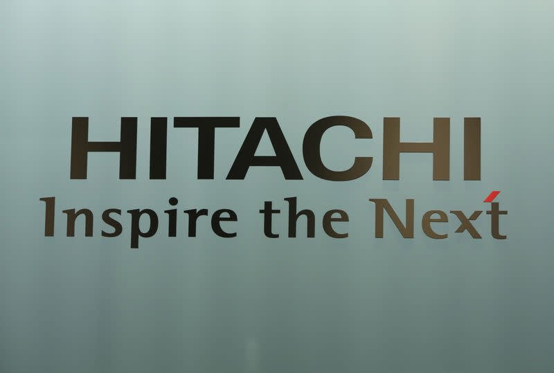 A logo of Hitachi Ltd. is seen at the company headquarters in Tokyo