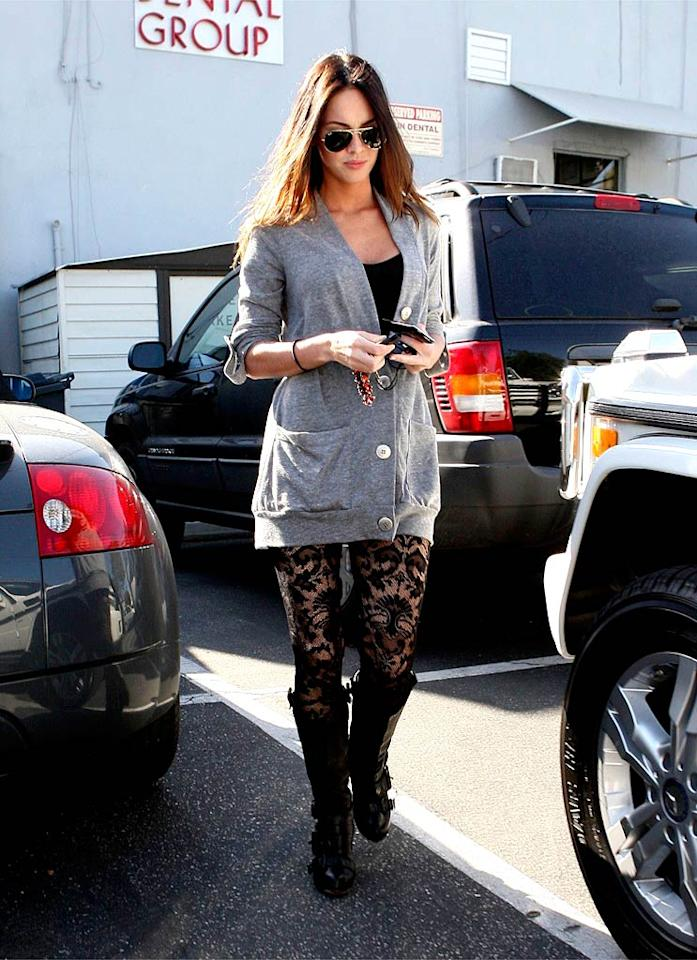 "We let Megan Fox's slouchy sweater slide, but we can't forgive her for wearing those sketchy stockings. <a href=""http://www.x17online.com"" target=""new"">X17 Online</a> - March 23, 2009"