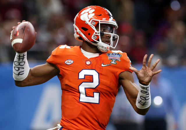 FILE - In this Jan. 1, 2018, file photo, Clemson quarterback Kelly Bryant (2) passes in the first half of the Sugar Bowl NCAA college football bowl game against Alabama, in New Orleans. Clemson coach Dabo Swinney is not concerned about his quarterback spot, even though the once-loaded depth at the position has been cut in half. (AP Photo/Rusty Costanza, File)