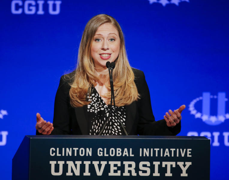 Vice Chair of the Clinton Foundation Chelsea Clinton speaks during a student conference for the Clinton Global Initiative University, Saturday, March 22, 2014, at Arizona State University in Tempe, Ariz. More than 1,000 college students are gathered at Arizona State University this weekend as part of the Clinton Global Initiative University's efforts to advance solutions to pressing world challenges. (AP Photo/Matt York)