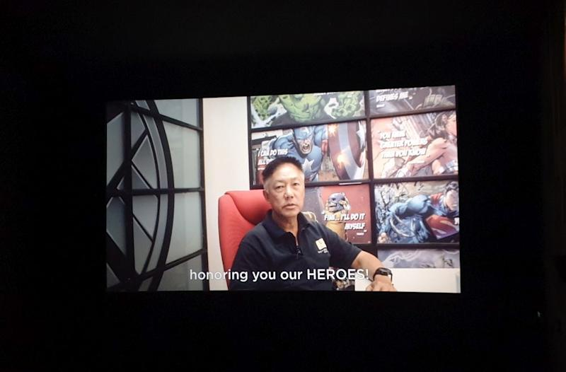 Redberry Media Group chief executive officer Tho Tuck Woh thanking the clients in a special video presentation in the theatre. — Picture by Milad Hassandarvish