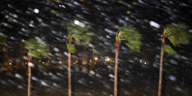 <p>Rain is blown past palm trees as Hurricane Harvey makes landfall, Friday, Aug. 25, 2017, in Corpus Christi, Texas. Harvey intensified into a hurricane Thursday and steered for the Texas coast with the potential for up to 3 feet of rain, 125 mph winds and 12-foot storm surges in what could be the fiercest hurricane to hit the United States in almost a dozen years. (Photo: Eric Gay/AP) </p>