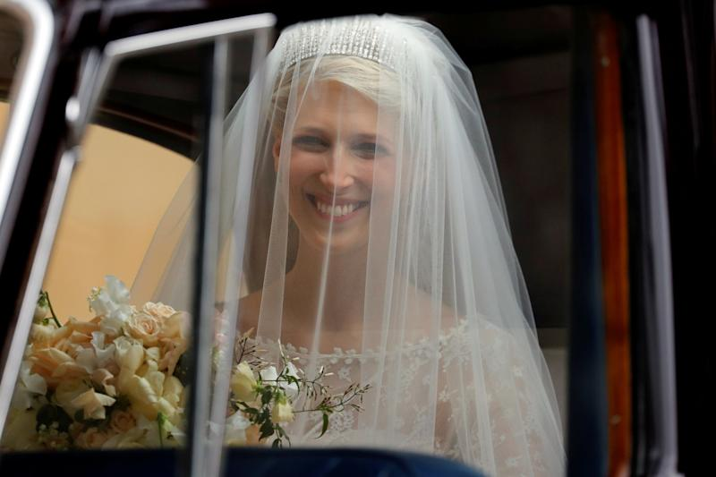 Beaming bride Lady Gabriella Windsor (REUTERS)
