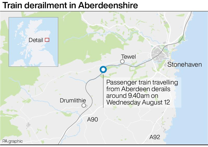 The passenger train travelling from Aberdeen just outside Stonehaven. (PA Graphics)