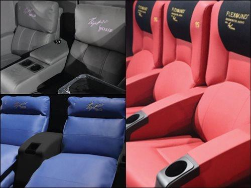 The various seats available at the new TGV cinema: INDULGE seat (grey), Milano Rocker seat (red) and the Siesta seat (blue) (Photo source: TGV Cinemas).