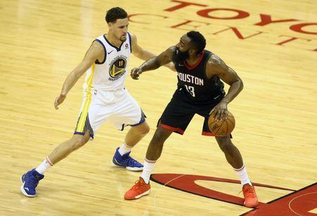May 16, 2018; Houston, TX, USA; Houston Rockets guard James Harden (13) controls the ball against Golden State Warriors guard Klay Thompson (11) during the first half in game two of the Western conference finals of the 2018 NBA Playoffs at Toyota Center. Mandatory Credit: Troy Taormina-USA TODAY Sports