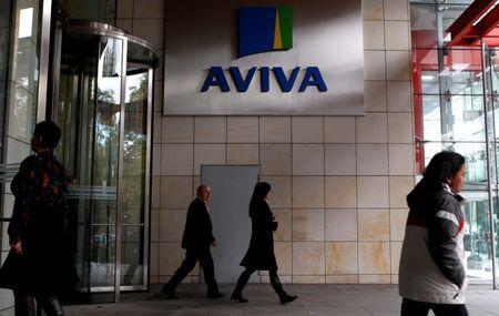 FILE PHOTO: People enter and exit the AVIVA headquarters building in Dublin.