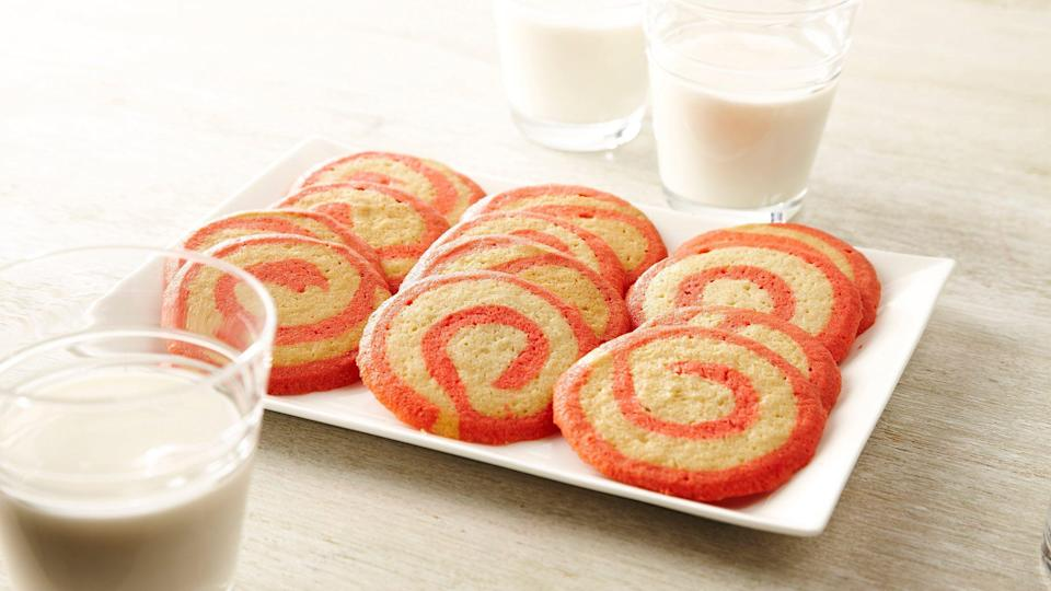 "<p>Before you start baking, make sure you have peppermint extract and red food coloring. You'll need both ingredients to make the red twist in these peppermint swirl cookies.</p> <p><a href=""https://www.thedailymeal.com/recipe/peppermint-swirl-cookies?referrer=yahoo&category=beauty_food&include_utm=1&utm_medium=referral&utm_source=yahoo&utm_campaign=feed"" rel=""nofollow noopener"" target=""_blank"" data-ylk=""slk:For the Peppermint Swirl Cookies recipe, click here."" class=""link rapid-noclick-resp"">For the Peppermint Swirl Cookies recipe, click here.</a></p>"