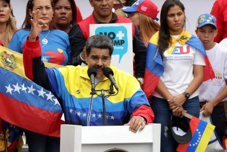FILE PHOTO: Venezuela's President Nicolas Maduro takes part in a rally against the U.S. sanctions on Venezuela, in Caracas