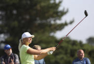 Sweden's Anna Nordqvist reacts to he drive from the 7th tee during the final round of the Women's British Open golf championship, in Carnoustie, Scotland, Sunday, Aug. 22, 2021. (AP Photo/Scott Heppell)